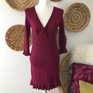 NEW Urban Outfitters Maroon Ruffle Mini Dress